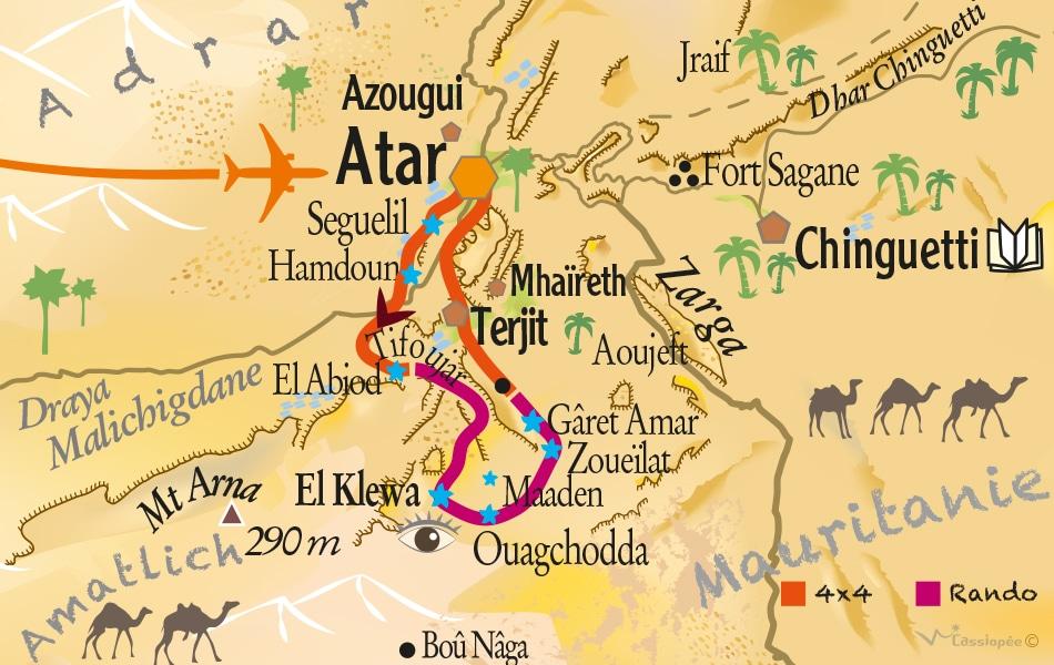Carte circuit Dunes et oasis El Klewa - Point Afrique