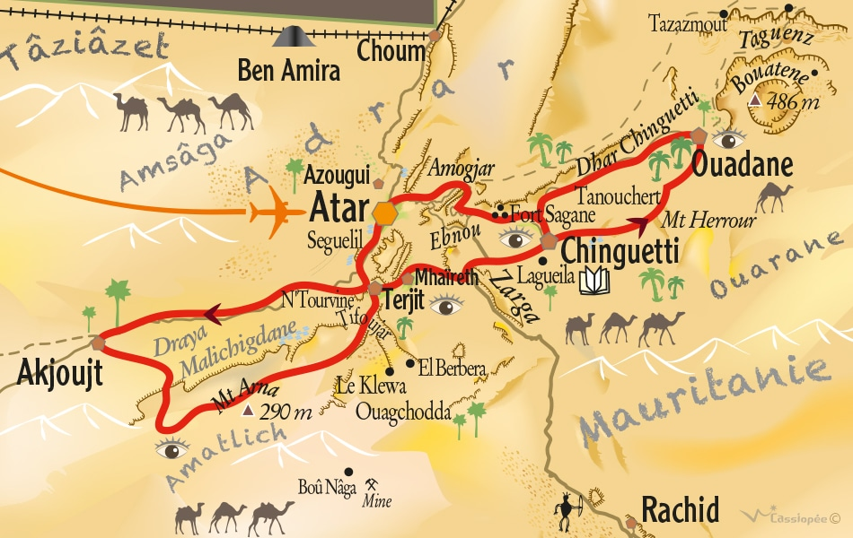 Carte circuit Panorama de l'Adrar- Point Afrique