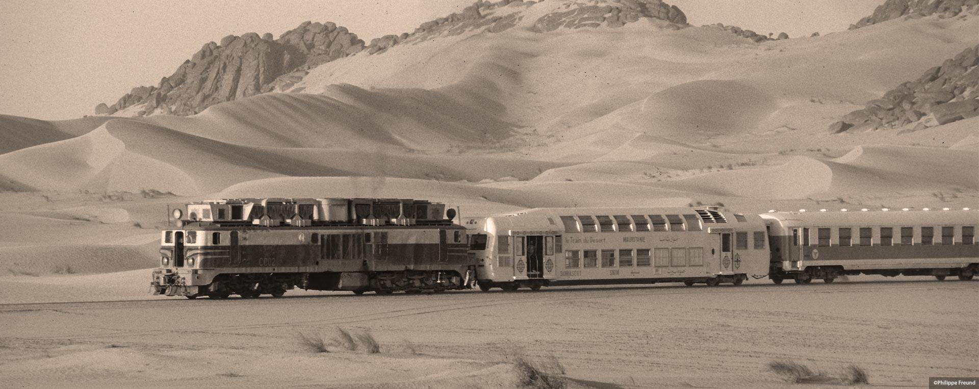Train du désert sepia Point Afrique