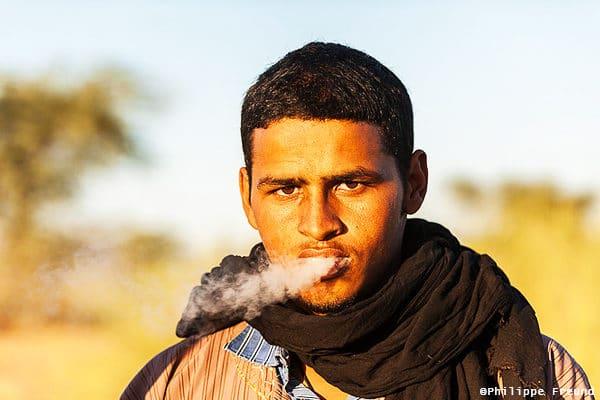 Portrait chamelier fumeur mauritanie