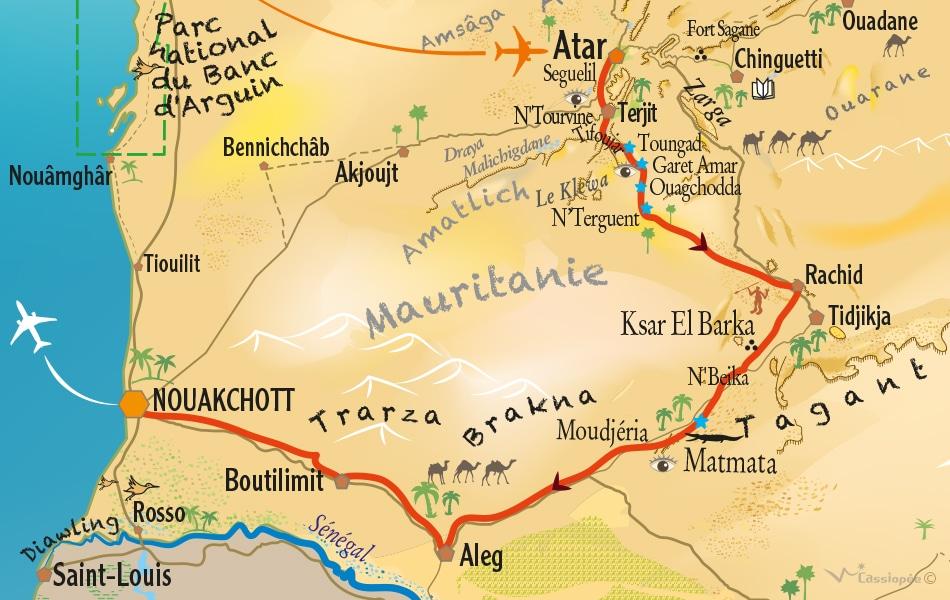 Carte circuit Tagant, terre des crocodiles- Point Afrique