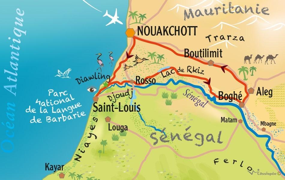 Carte circuit Diawling, St-Louis et Fleuve Sénégal