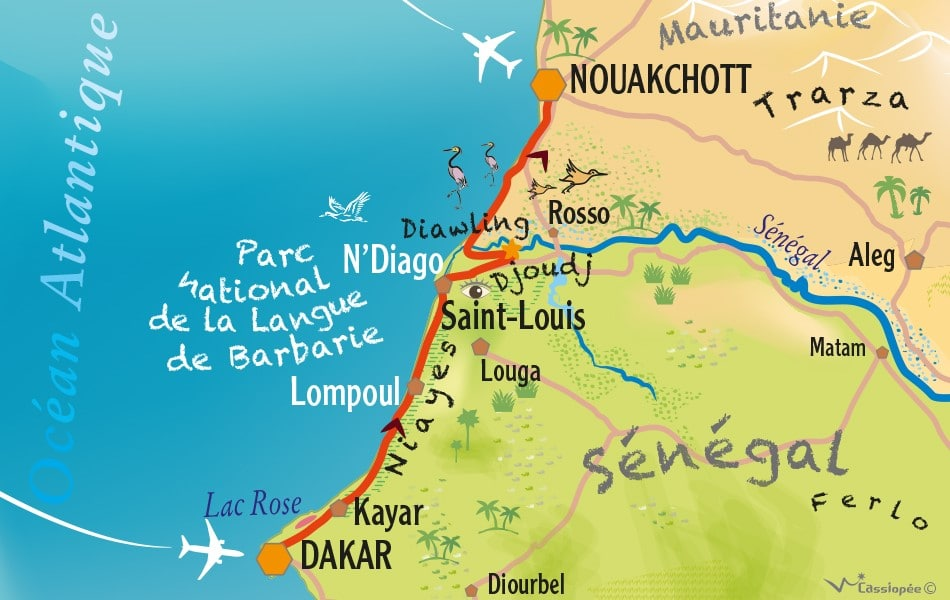 Carte circuit Dakar-Nouakchott, entre rives et rivages