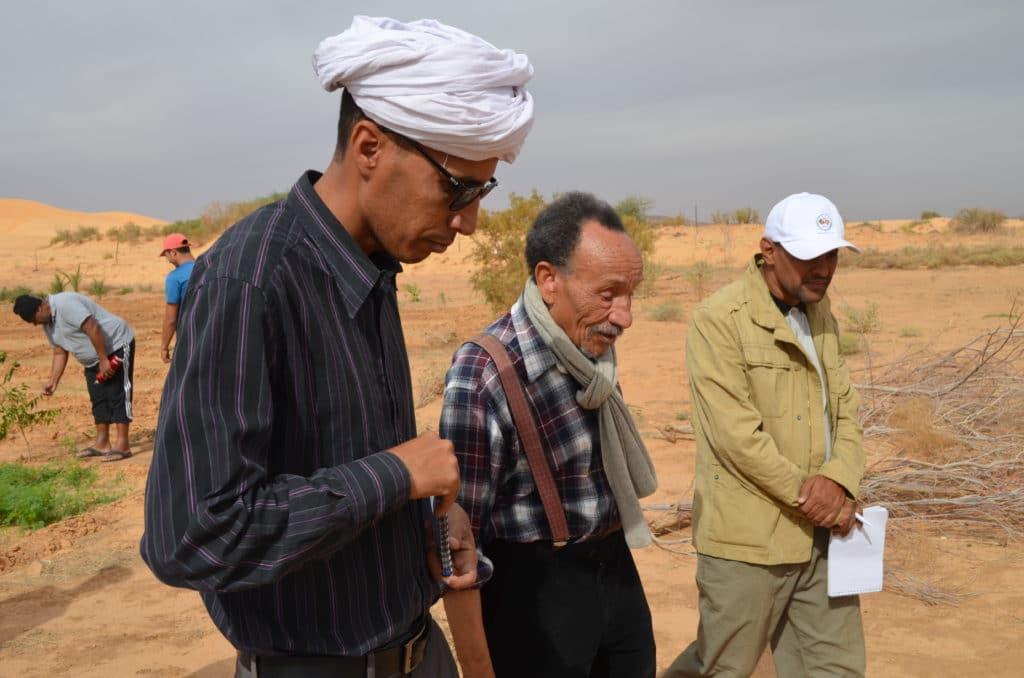 PIerre Rabhi en visite dans les jardins de Maaden en mauritanie
