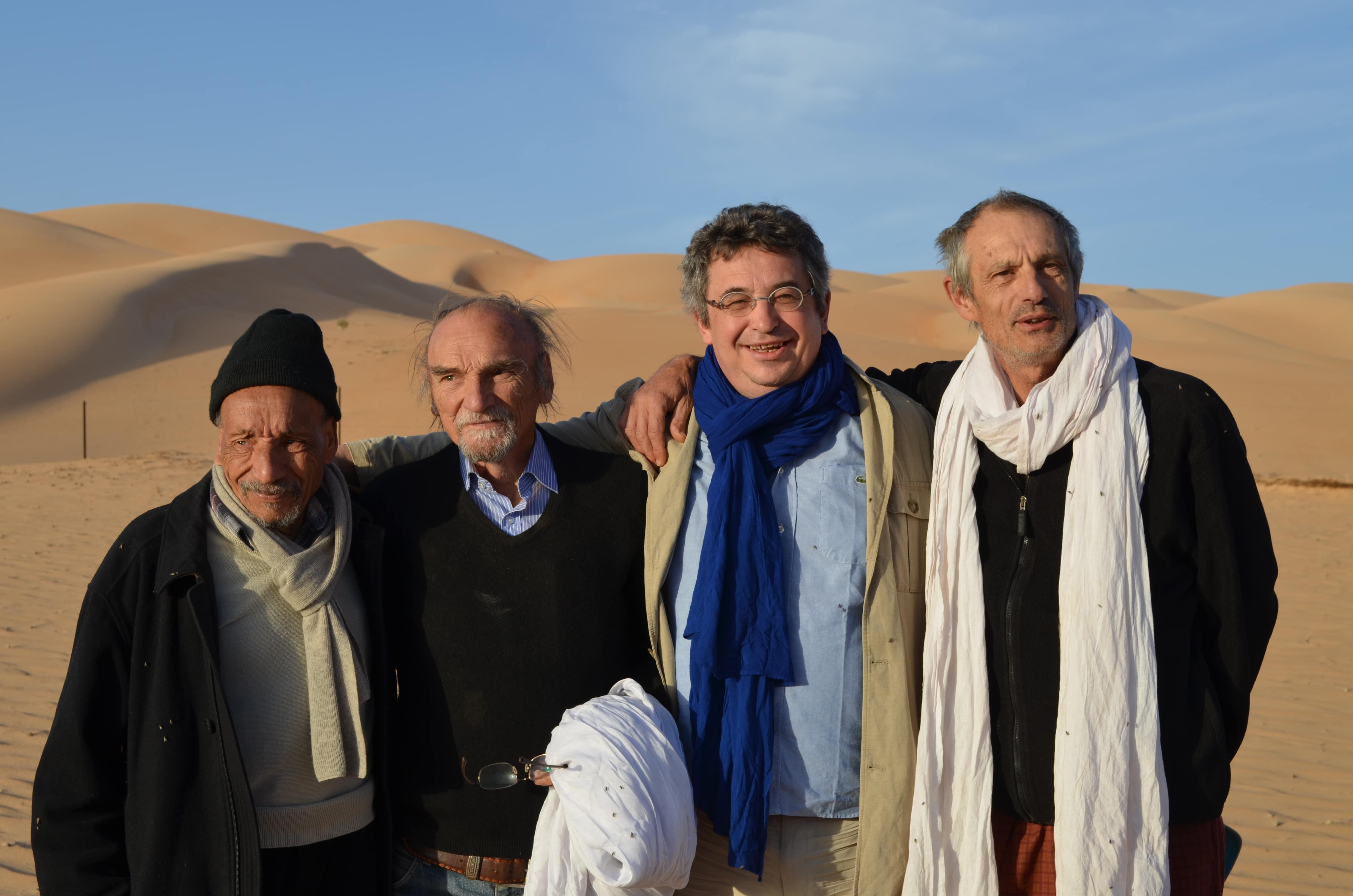 Pierre Rabhi, Maurice freund, Yacine Demaison et Jean-Joseph Boillot à Maaden en Mauritanie