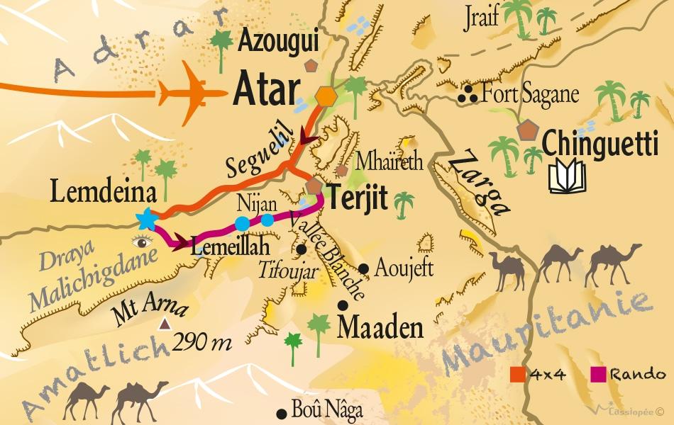 Carte circuit les mystères de l'Oued - Rando famille en Mauritanie