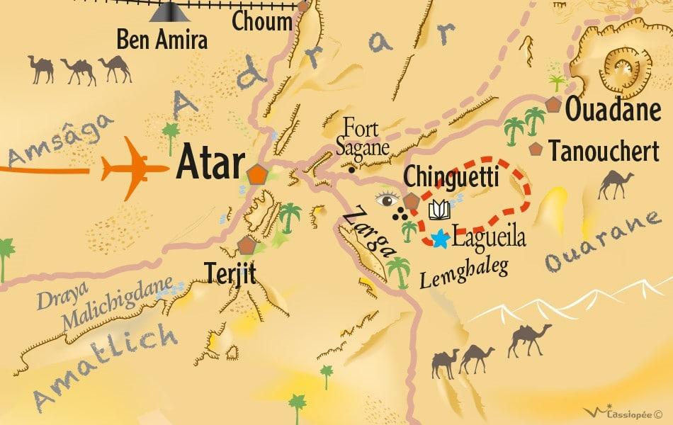 Carte circuit Théma Silence et méditation dans le désert (autour de Chinguetti)