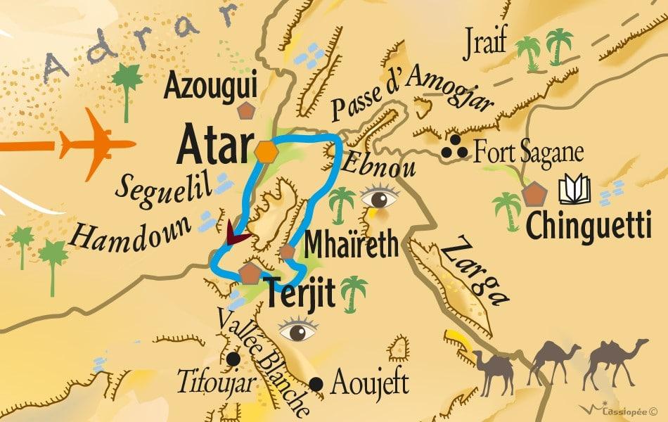 Carte circuit rando Premières traces dans le désert