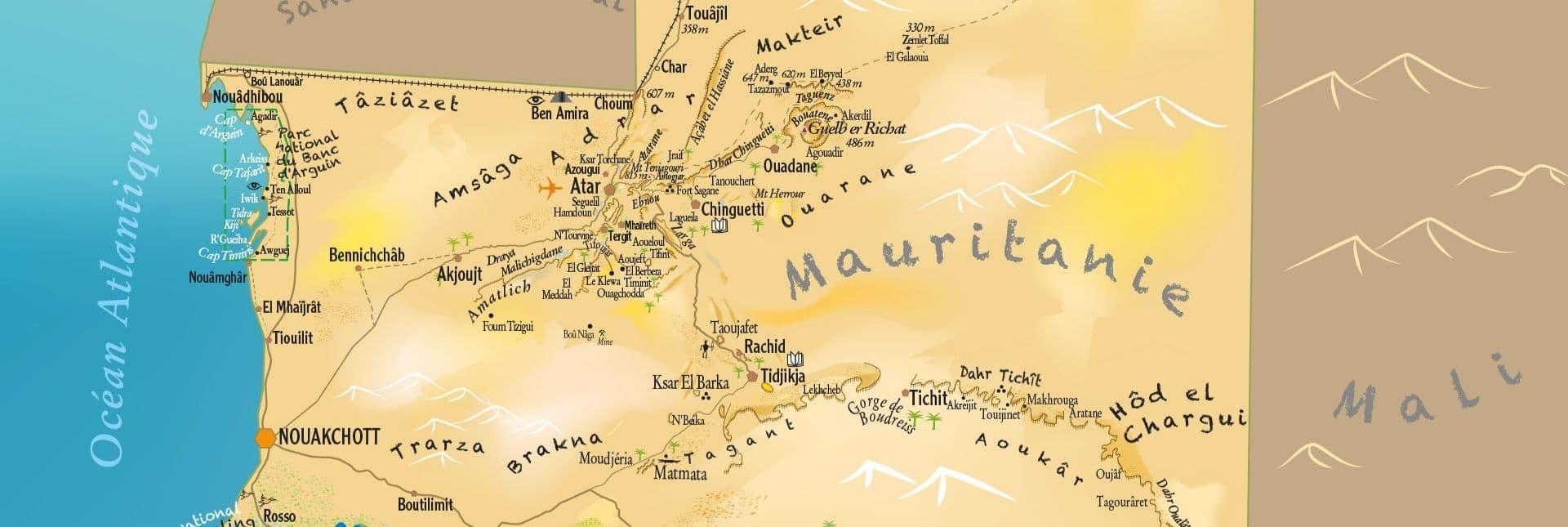 Carte touristique Mauritanie