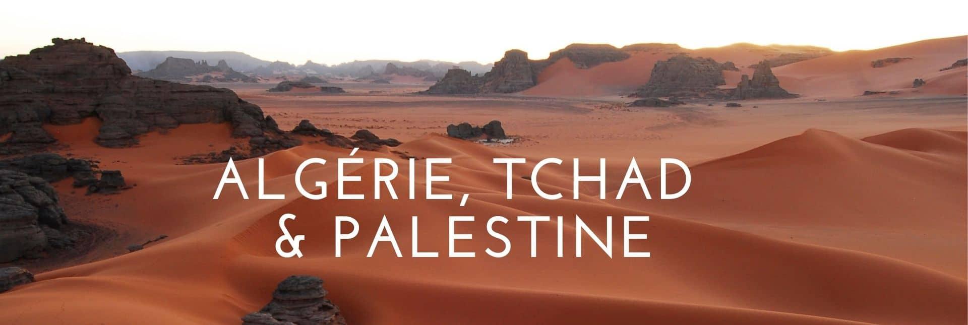 Header nouvelles destinations : Algerie, Tchad, palestine